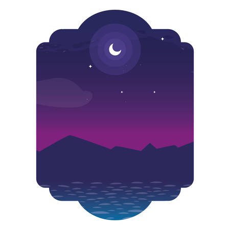 lake and mountains at night scene vector illustration design