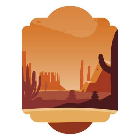 beautiful desert landscape scene vector illustration design  イラスト・ベクター素材