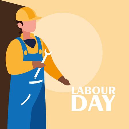 labour day celebration with construction worker vector illustration design Illustration