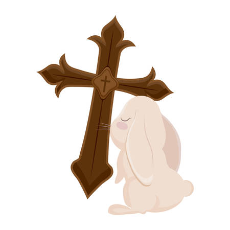 cross catholic with cute rabbit isolated icon vector illustration design Zdjęcie Seryjne - 122854013