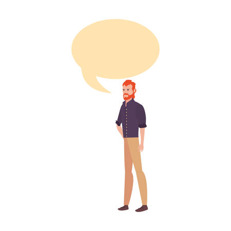 man with casual clothes character talking on white background vector illustration Ilustração