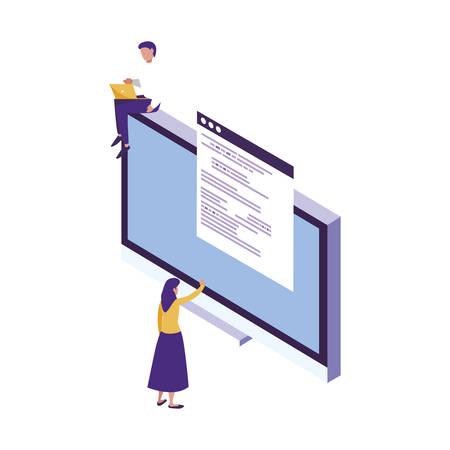desktop with mini people workers vector illustration design