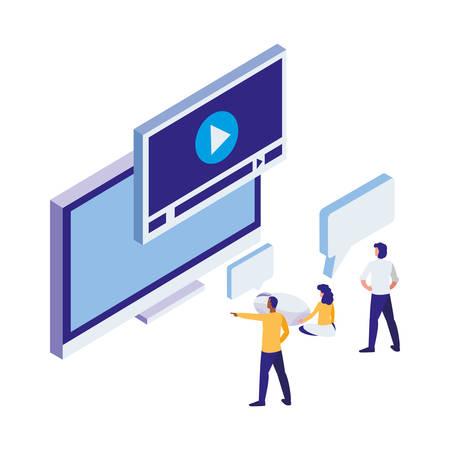 desktop with people workers vector illustration design