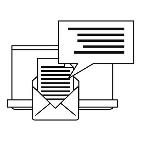 email laptop cybersecurity data protection vector illustration outline