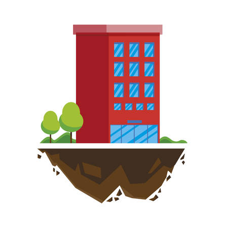 urban building in terrain ground with trees vector illustration design