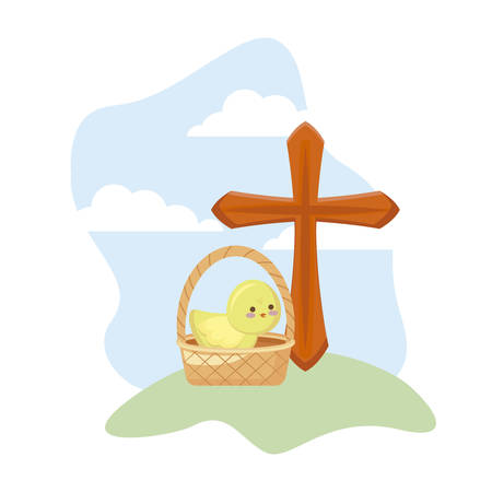 cross catholic with cute chicken in basket wicker vector illustration design