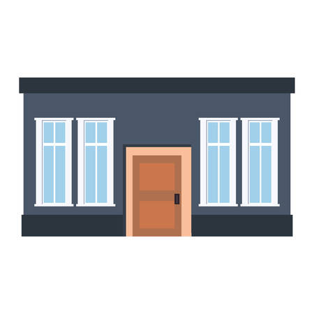 house exterior facade on white background vector illustration