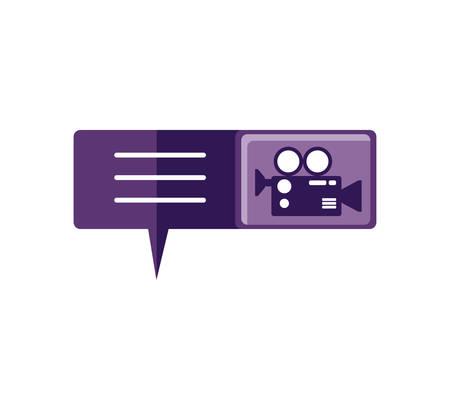 speech bubble with video camera app vector illustration design Иллюстрация