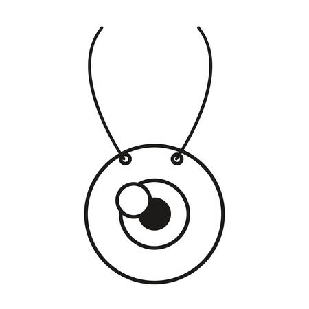 necklace with eye icon over white background, vector illustration