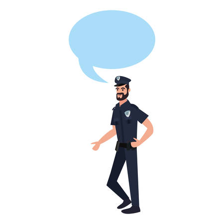 policeman character speech bubble on white background vector illustration