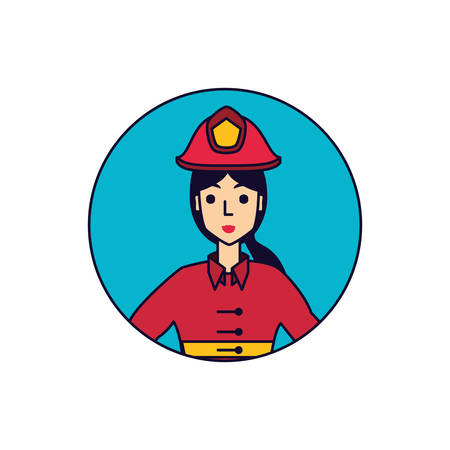 firefighter professional female in frame circular vector illustration design