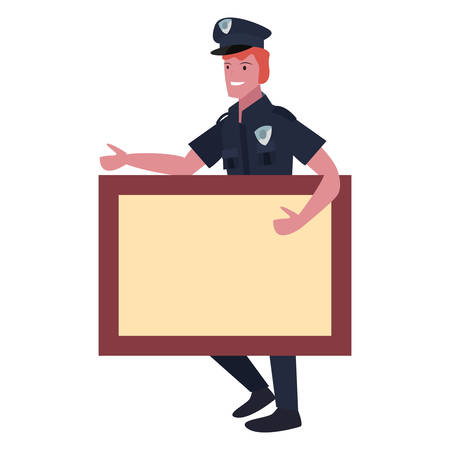 policeman profession board labour day vector illustration design