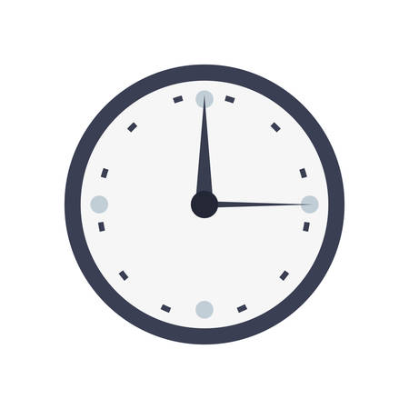 round clock time icon on white background vector illustration Illustration