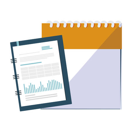 office notepad with calendar vector illustration design Stock Illustratie