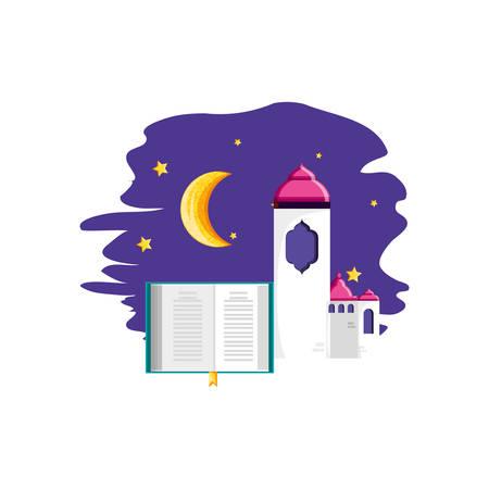 koran book with mosque castle ramadan kareem vector illustration design Imagens - 122876815