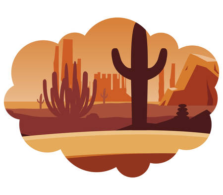 beautiful desert landscape scene vector illustration design Illusztráció