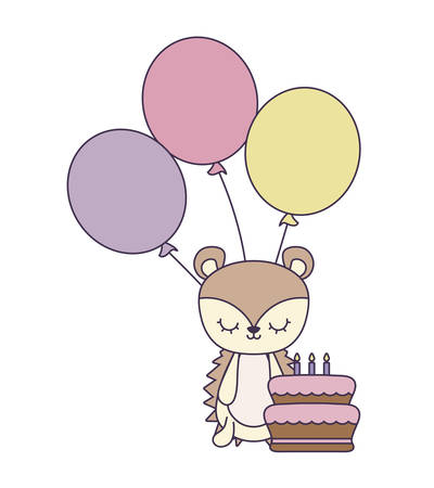 cute porcupine with cake of birthday and balloons helium vector illustration design Ilustracja
