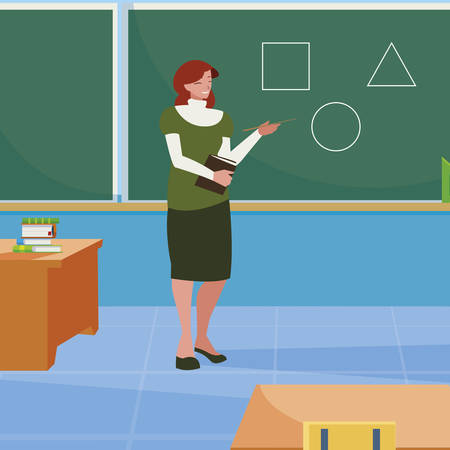 female teacher in the classroom character vector illustration design