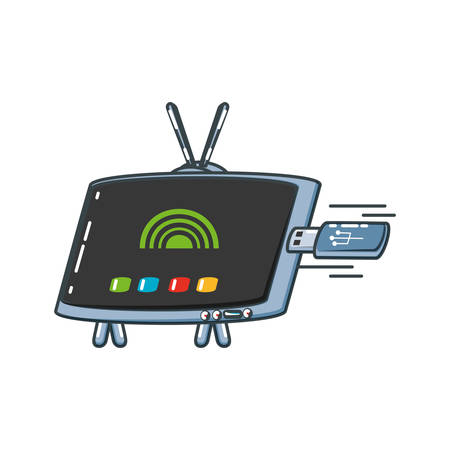 tv portable with usb memory vector illustration design