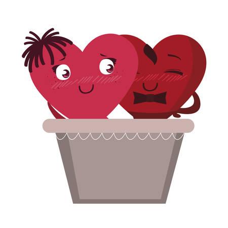 couple hearts in balloon basket kawaii characters vector illustration design