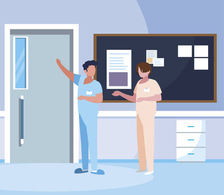 male medicine workers with uniforms in hospital corridor vector illustration design