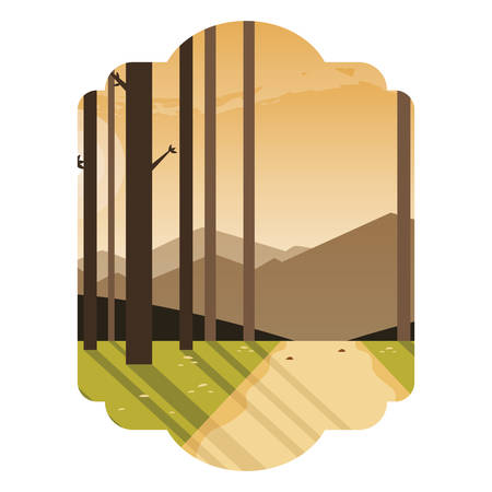 way with trees forest scene vector illustration design