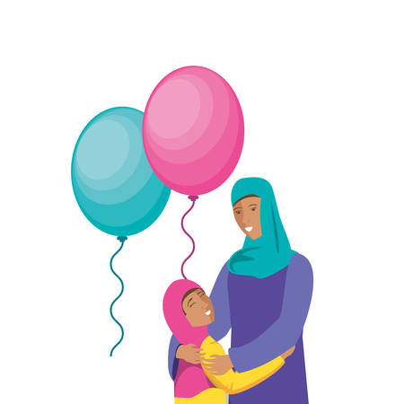 islamic mother with daughter and balloons helium vector illustration design