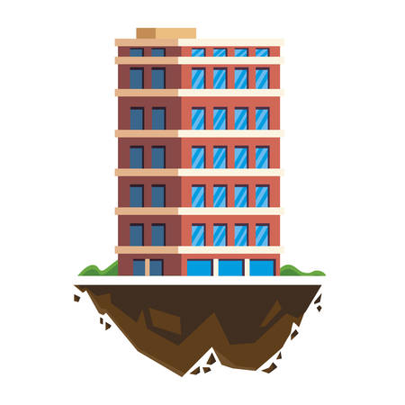 urban building in terrain ground vector illustration design