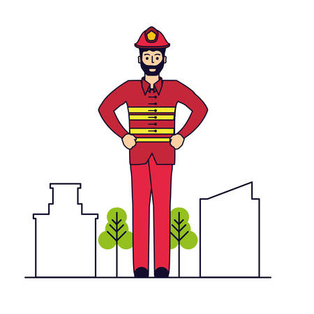 firefighter professional with cityscape vector illustration design Çizim