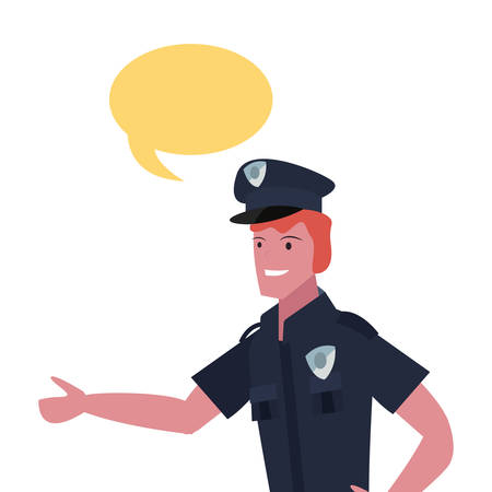 policeman speech bubble labour day vector illustration