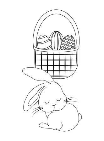 cute rabbit with basket and eggs of easter vector illustration design