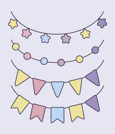 Conjunto de guirnaldas decorativas colgantes, diseño de ilustraciones vectoriales