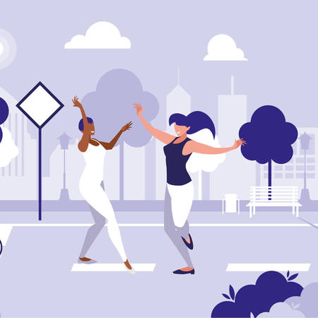 young interracial girls dancing in the park vector illustration design Stock Illustratie