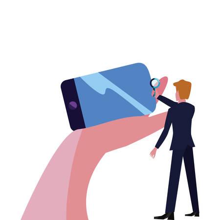 businessman cellphone magnifier bank business vector illustration vector illustration