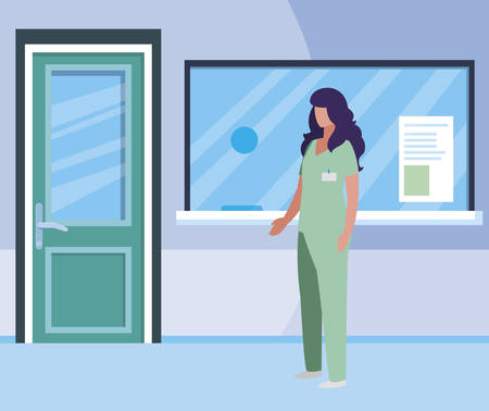female medicine worker in hospital reception vector illustration design Stock Vector - 122958819