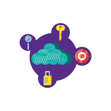 cloud computing with security icons vector illustration design Reklamní fotografie - 122943008