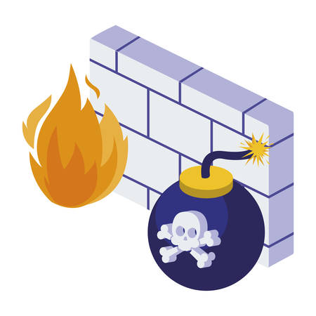 firewall protection isolated icon vector illustration design