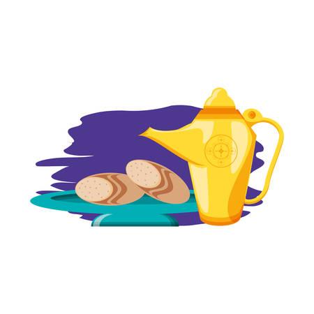 teapot lamp with bread food ramadan kareem vector illustration design
