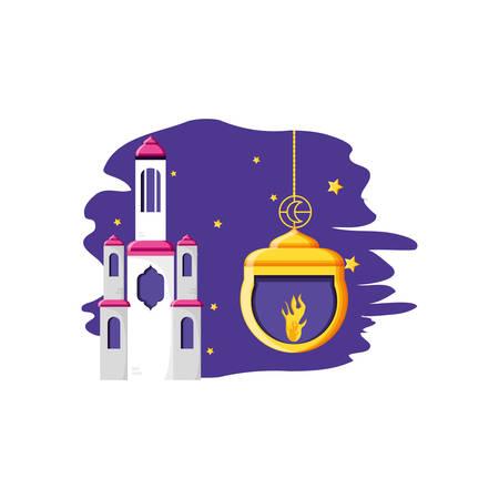 Ramadan Kareem lamp with mosque castle vector illustration design Stock Illustratie