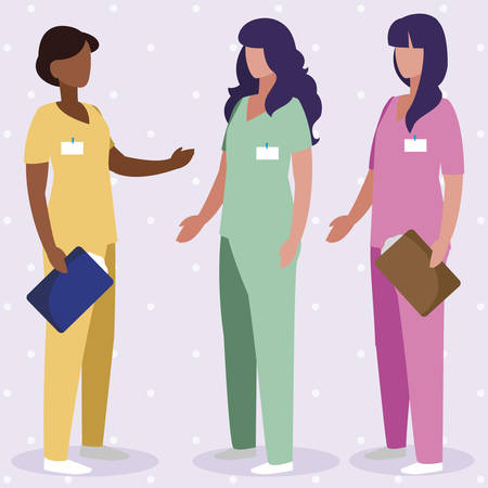 interracial female medicine workers with uniform characters vector illustration design