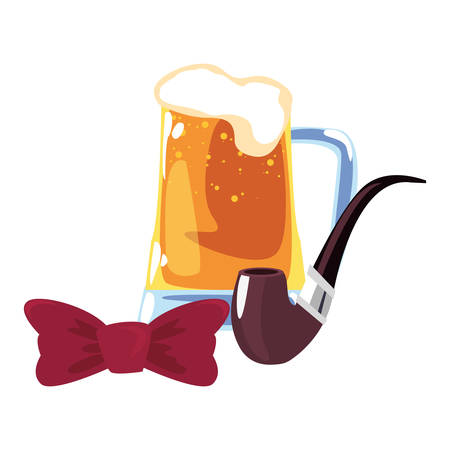 beer tobacco pipe and bow tie happy fathers day vector illustration