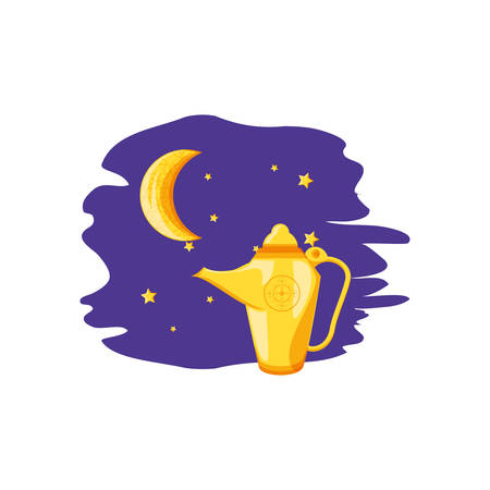 ramadan kareem card with moon and teapot vector illustration design 向量圖像