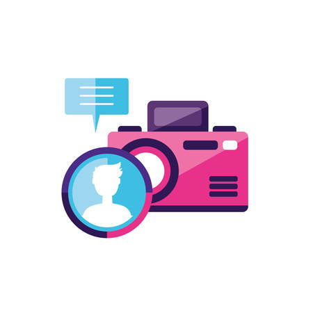 camera photographic with male user account  vector illustration design