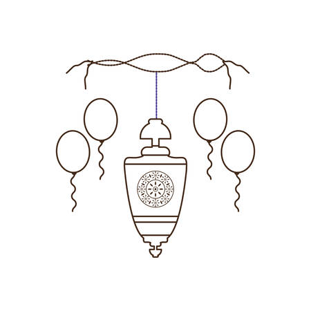 ramadan kareem lantern hanging and balloons helium vector illustration design Banque d'images - 123062810