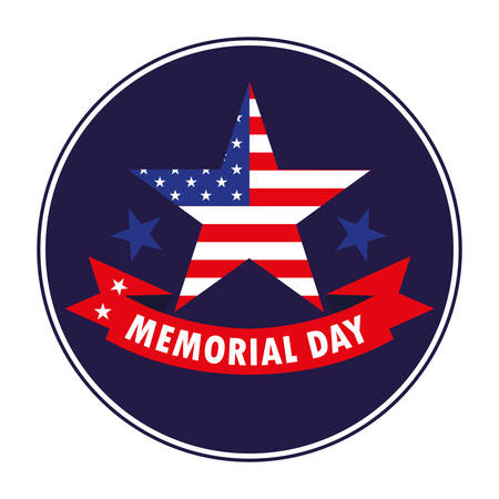 happy memorial day card with star and flag usa vector illustration design