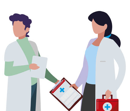 couple medicine workers with uniform characters vector illustration design Stok Fotoğraf - 123062992
