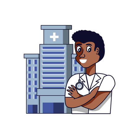 afro doctor professional with hospital facade vector illustration design