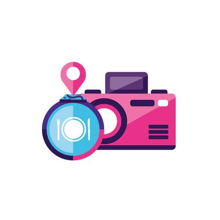 Diseño de ilustración de vector de icono de dispositivo fotográfico de cámara