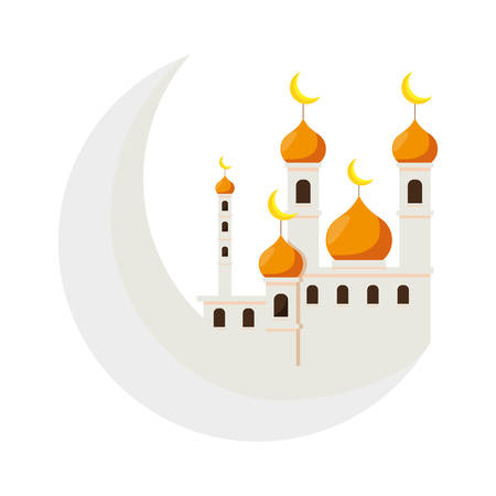mosque ramadan kareem building with moon vector illustration design