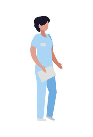 female medicine worker with uniform character vector illustration design 矢量图像